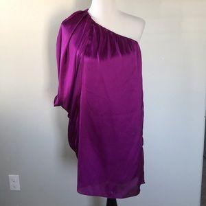 Satin Holiday Christmas one shoulder purple dress